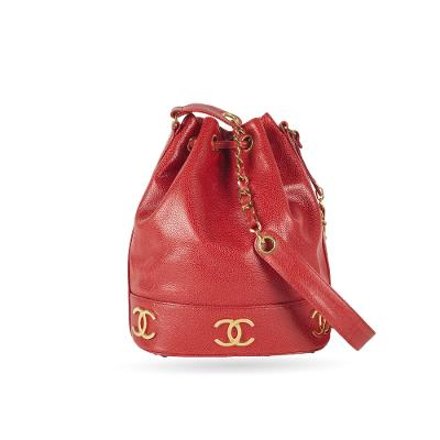 Caviar 6 CC Mark Shoulder Bag Cherry Red